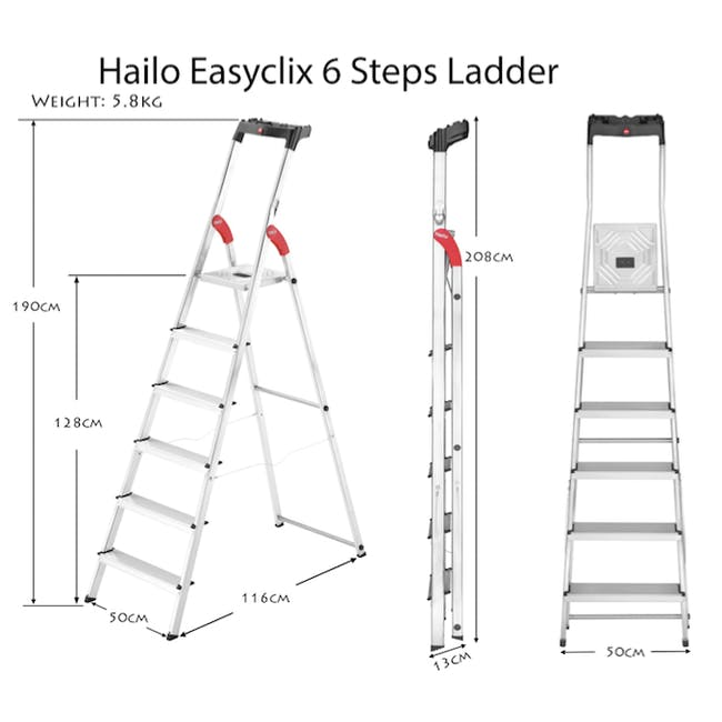 Hailo Aluminium 6 Step Ladder (2 Step Sizes) - 2