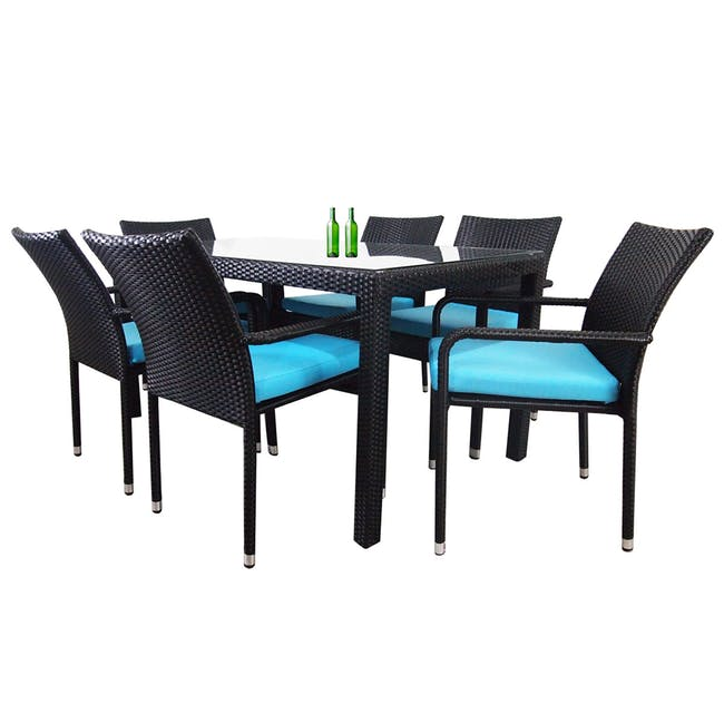 Boulevard Outdoor Dining Set with 6 Chair - Blue Cushion - 1