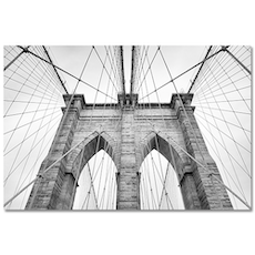 Monochrome Brooklyn Bridge Print Poster