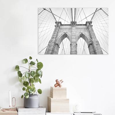 Monochrome Brooklyn Bridge Print Poster - Image 2