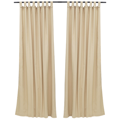 Reysha Cotton Curtain (Set of 2) - Beige - Image 2