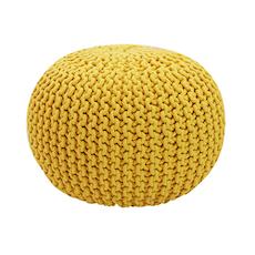 Knitted Pouffe - Yellow