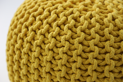 Moana Knitted Pouffe - Yellow - Image 2
