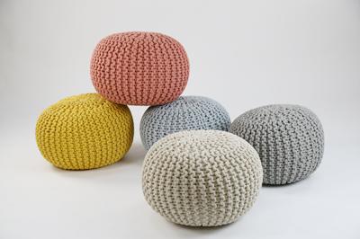Moana Knitted Pouffe - Yellow - Image 2