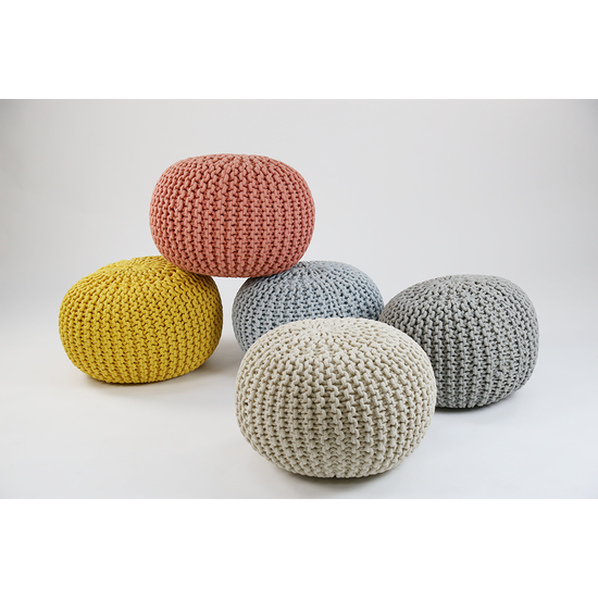 Home Fabrics By HipVan Moana Knitted Pouffe Yellow HipVan Fascinating Turquoise Knitted Pouf