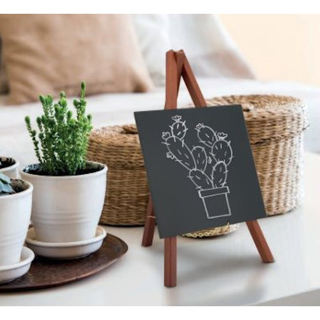 Securit Rubber Wood Table Chalk with Mini Easel Stand - 1