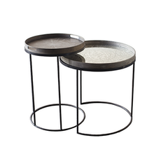 Notre Monde Round Tray Table (Set of 2)