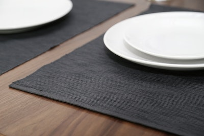 Rectangular Cotton Placemats (Set of 6) - Dark Grey - Image 2