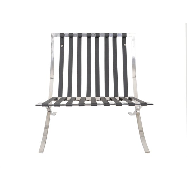Barcelona Chair Replica - Black (Genuine Cowhide) - 11