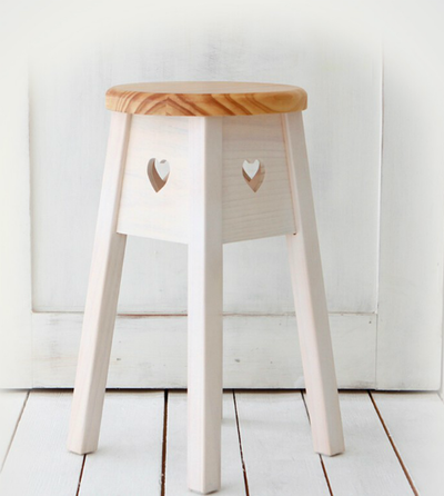 Miranda Heart Stool - Natural
