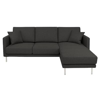 Olivia L Shape Sofa - Carbon Grey