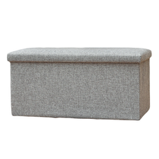 Foldable Storage Bench Ottoman (Set of 2) - Grey