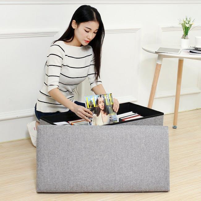 Domo Foldable Storage Bench Ottoman - Blue - 4
