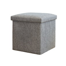 Foldable Storage Cube Ottoman (Set of 2) - Grey