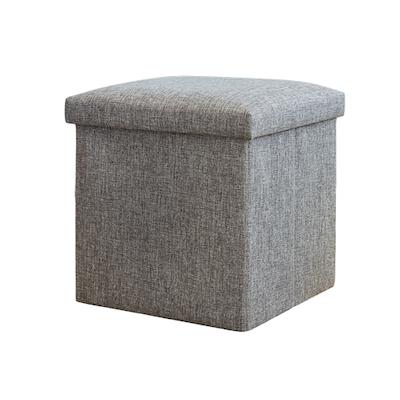 Domo Foldable Storage Cube Ottoman (Set of 2) - Grey