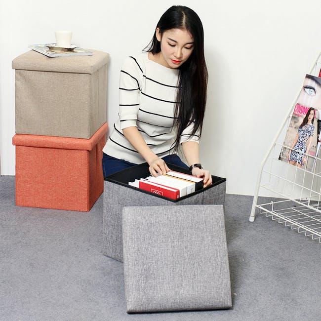 Domo Foldable Storage Cube Ottoman - Blue - 3