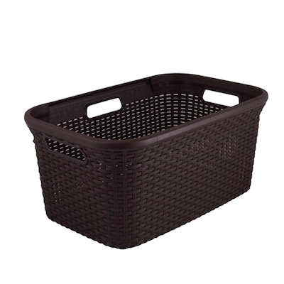 Rattan Style Rectangular 45L Hamper - Dark Brown - Image 1