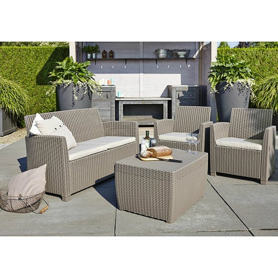 Allibert - Corona Lounge Set with Storage Coffee Table- Cappuccino