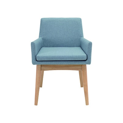 Fabian Dining Chair with Armrests - Natural, Aquamarine - Image 2