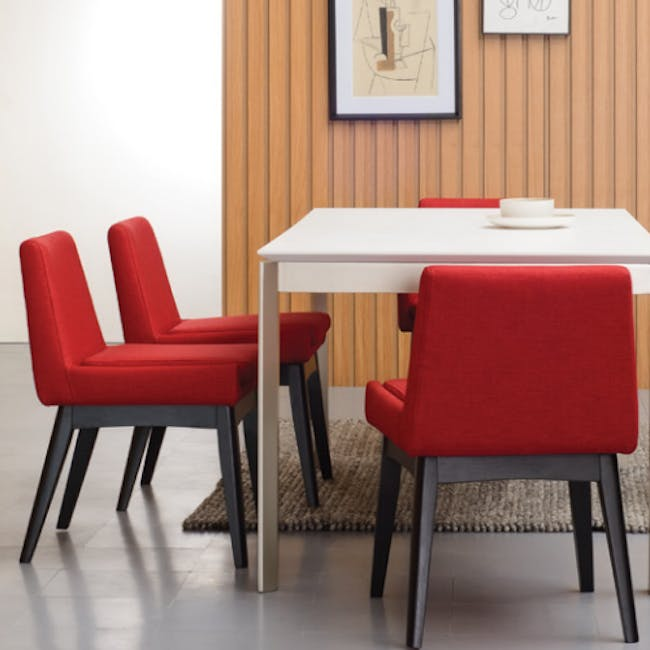 Clarkson Dining Table 2.2m in Cocoa with 4 Fabian Chairs in Cocoa, Dolphin Grey - 9