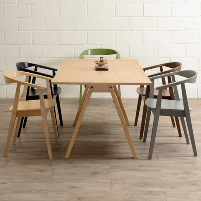 Tyrus Dining Table 2m with 4 Greta Chairs in Black and Natural - 5