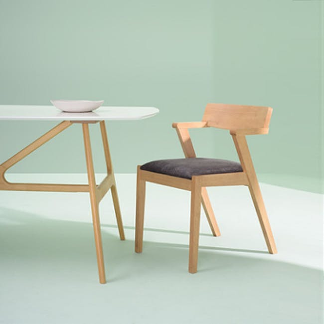 Odette Dining Table 1.6m with 4 Imogen Dining Chair in Dolphin Grey and Spring Green - 12