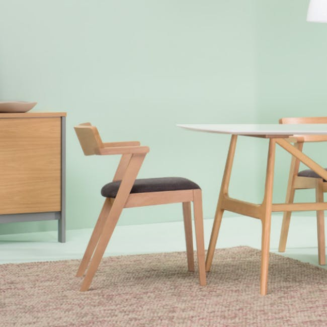 Odette Dining Table 1.6m with 4 Imogen Dining Chair in Dolphin Grey and Spring Green - 13