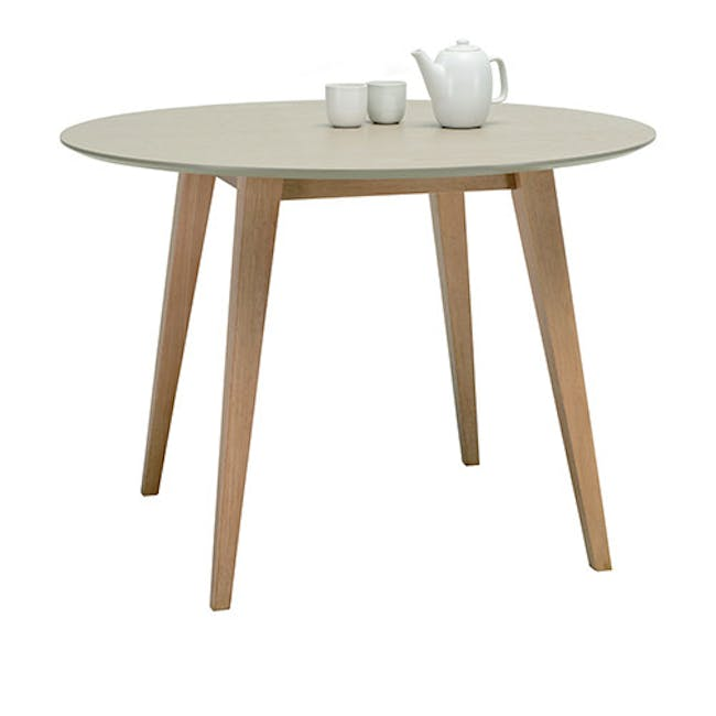 (As-is) Ralph Round Dining Table 1m - Natural, Taupe Grey - 3 - 5