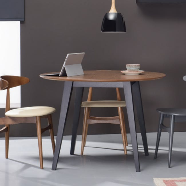 (As-is) Ralph Round Dining Table 1m - Natural, Taupe Grey - 4 - 9