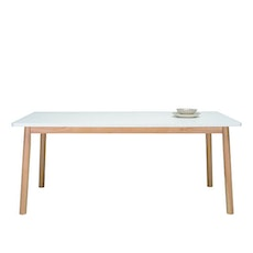 Santorini 8 Seater Dining Table - Natural, White Lacquered