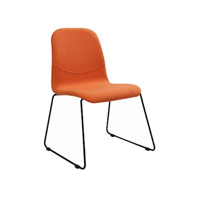 Ava Dining Chair - Matt Black, Tangerine