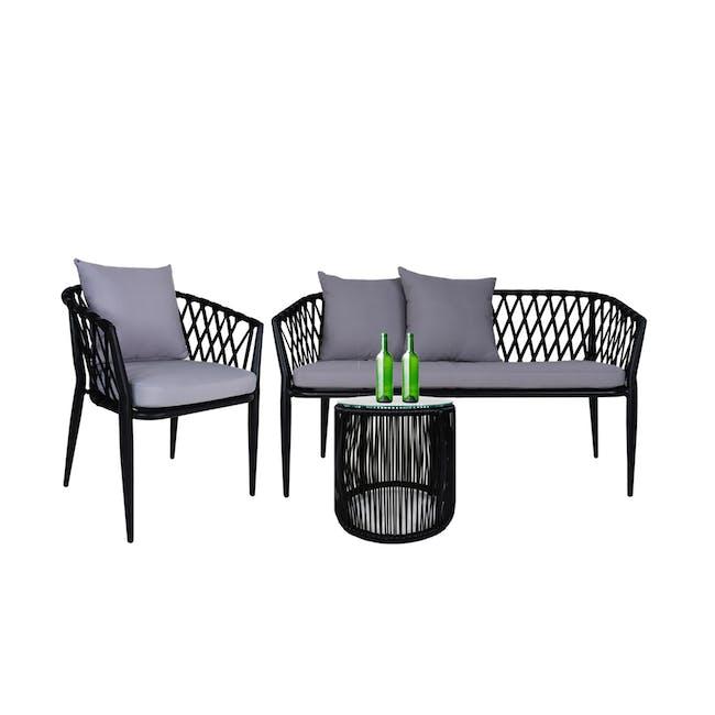 Orgo Loveseat & 1 Armchair Set - Grey Cushion - 0