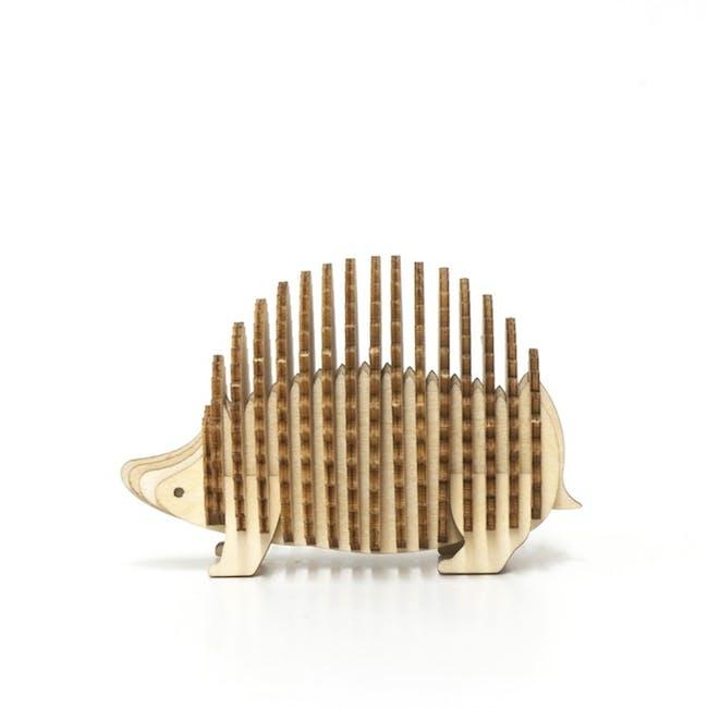 Jigzle Lifestyle Animal Hedgehog Card Holder 3D Wooden Figurine - 0
