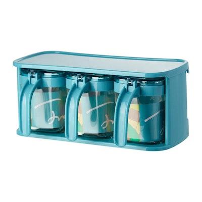Glass Condiment 3-Piece Pot Set - Blue - Image 1