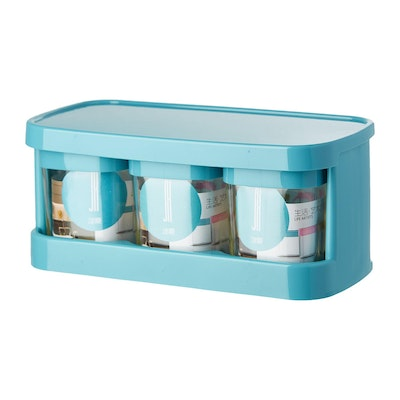Glass Condiment 3-Piece Pot Set  - Blue