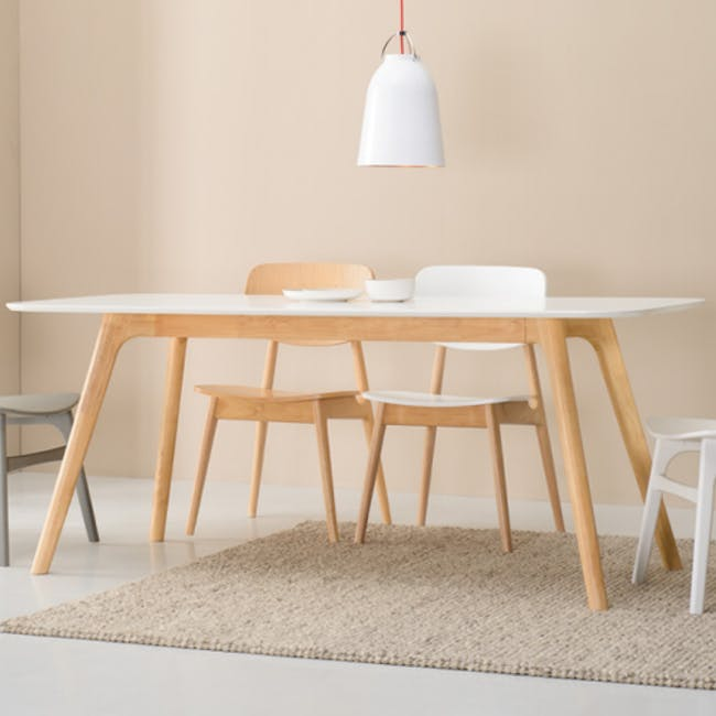 Roden Dining Table 1.8m in Natural with 4 Miranda Chairs in Sea Green and Pink - 3
