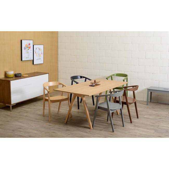 Varden Dining Table 1.7m in Black Ash with 4 DSW Chair Replica - Natural, Black - 2