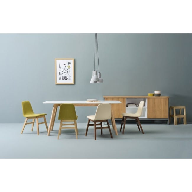 Roden Dining Table 1.8m in Cocoa with 4 Finnley Dining Chairs in Stone Grey and Dark Grey - 2