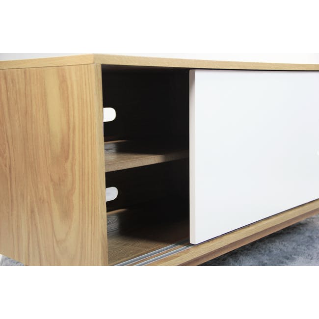 Emelie TV Console 1.2m - Oak, White - 8