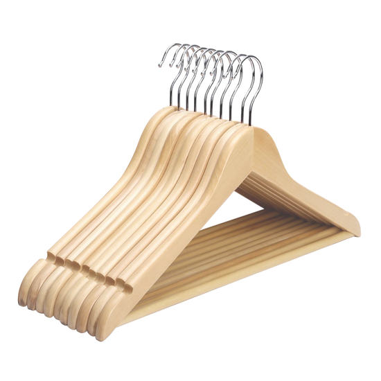 Wooden Hangers Set Of 10 Natural