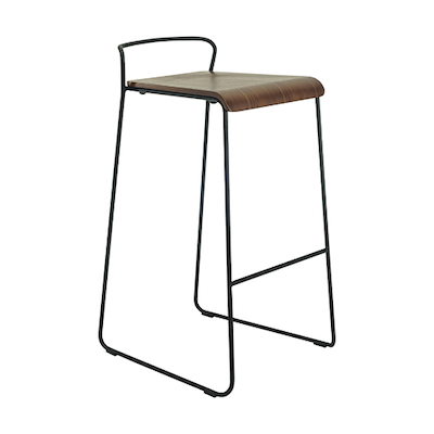 (As-is) Camila Bar Chair - Walnut, Matt Black - 2 - Image 2