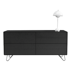 Sydney Sideboard - Charcoal Grey Lacquered, Matt Silver