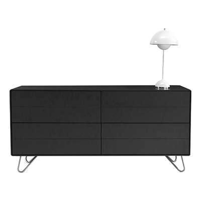 Olivia Sideboard - Charcoal Grey Lacquered, Matt Silver