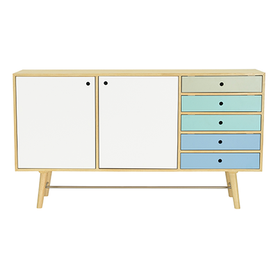 Axtell Sideboard - Oak Veneer, Multicolour Lacquered
