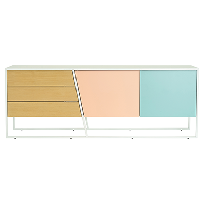 Odin Sideboard 2m - White Lacquered, Multicolour Lacquered, Matt White - Image 1