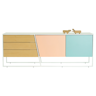 Odin Sideboard 2m - White Lacquered, Multicolour Lacquered, Matt White - Image 2