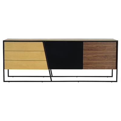 Odin Sideboard 2m - Walnut Veneer, Multicolour Veneer, Matt Black - Image 1