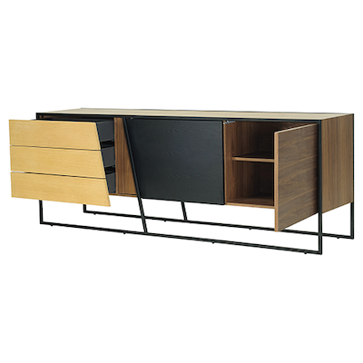 Odin Sideboard - Walnut Veneer, Multicolour Veneer, Matt Black - Image 2