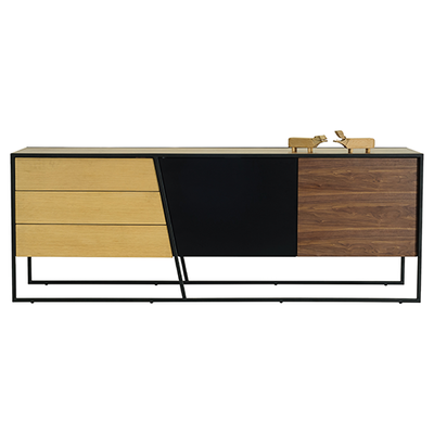 Odin Sideboard 2m - Walnut Veneer, Multicolour Veneer, Matt Black - Image 2