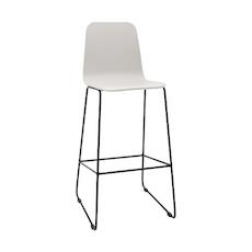 Ava High Back Bar Chair - White Lacquered, Matt Black